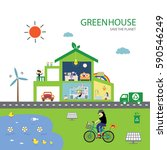 vector green house save the... | Shutterstock .eps vector #590546249