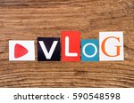 "word ""vlog"" in cut out magazine ... 