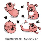 Little puppy in different poses - stock vector