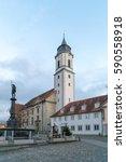 Small photo of LINDAU, GERMANY - DECEMBER 26, 2016: Minster of Our Lady (Munster Unserer Lieben Frau), Stiftsplatz, Lindau, Lake Constance, Bavaria, Germany