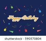 happy birthday typographic... | Shutterstock .eps vector #590570804