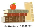 Books And Red Apple