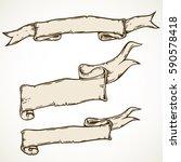 vintage hand drawn ribbon... | Shutterstock .eps vector #590578418