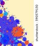 dark blue with orange drops...   Shutterstock .eps vector #590579150