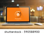 laptop on table with... | Shutterstock . vector #590588900