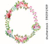 watercolor flowers wreath | Shutterstock . vector #590591909