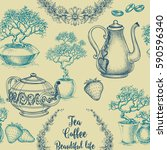 tea and coffee seamless pattern.... | Shutterstock .eps vector #590596340