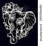 decorative vector elephant with ... | Shutterstock .eps vector #590596490