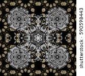 golden pattern on black... | Shutterstock . vector #590598443