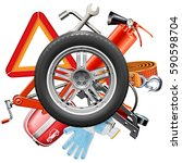 vector wheel with car... | Shutterstock .eps vector #590598704