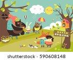 cute animals walking in spring... | Shutterstock .eps vector #590608148