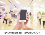 hands holding mobile phone with ... | Shutterstock . vector #590609774