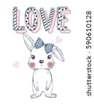 cute rabbit | Shutterstock .eps vector #590610128