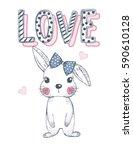 Stock vector cute rabbit 590610128
