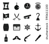 pirate icons set. simple... | Shutterstock .eps vector #590611100