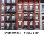 manhattan  old building with... | Shutterstock . vector #590611484