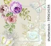 retro card with watercolor roses | Shutterstock . vector #590614154