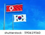 north and south korea flags on... | Shutterstock . vector #590619560