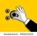 man hand dialing combination... | Shutterstock .eps vector #590622323