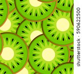 background of fresh kiwi slices ... | Shutterstock .eps vector #590622500