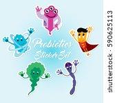funny comic probiotics bacteria ... | Shutterstock .eps vector #590625113