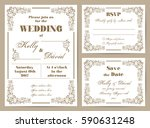 set of wedding cards in retro... | Shutterstock .eps vector #590631248