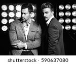 portrait of two sexy handsome... | Shutterstock . vector #590637080