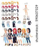 dresses and hairstyles game.... | Shutterstock .eps vector #590637329