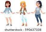 three female cartoon characters.... | Shutterstock .eps vector #590637338