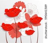 retro floral background.... | Shutterstock .eps vector #590641589