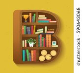 creative bookshelf in isometry... | Shutterstock .eps vector #590643068