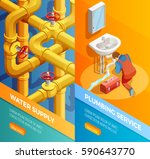water supply problems fixing 2... | Shutterstock .eps vector #590643770
