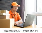 delivery call center online... | Shutterstock . vector #590645444