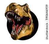 Dinosaur Head Sketch Vector...