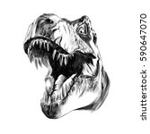 dinosaur head sketch vector | Shutterstock .eps vector #590647070