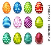 easter eggs set. spring.... | Shutterstock .eps vector #590648828