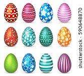 easter eggs set. spring.... | Shutterstock .eps vector #590648870