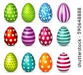 easter eggs set. spring.... | Shutterstock .eps vector #590648888