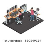 music production studio room... | Shutterstock .eps vector #590649194