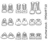 vector set of sketch shoes... | Shutterstock .eps vector #590649710