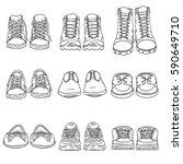 vector set of sketch shoes... | Shutterstock .eps vector #590649710