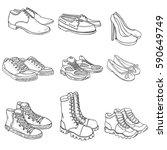 vector set of sketch shoes... | Shutterstock .eps vector #590649749