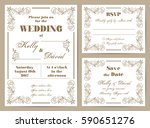 set of wedding cards in retro... | Shutterstock .eps vector #590651276