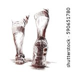 athletic legs   sport and... | Shutterstock .eps vector #590651780