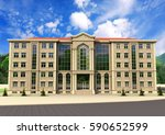 house 3 d render perspective on ... | Shutterstock . vector #590652599
