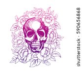 skull in flowers painted by... | Shutterstock .eps vector #590656868