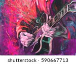 jazz guitarists hands  playing... | Shutterstock . vector #590667713