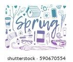 hand drawn fashion illustration.... | Shutterstock .eps vector #590670554
