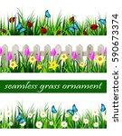 green grass seamless | Shutterstock .eps vector #590673374