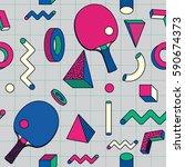 retro geometric shape  ping... | Shutterstock .eps vector #590674373